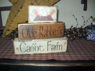 PRIMITIVE GARDEN BLOCK SIGN~~OLDE RABBITS CARROT FARM~