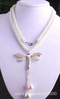 big glass pearl clear crystal tassels dragonfly pendant necklace 32
