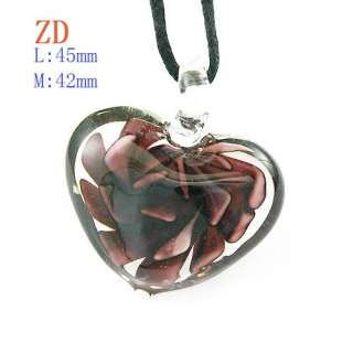 Red Multi Colors Flower Lampwork Glass Heart Pendant Necklace Fashion