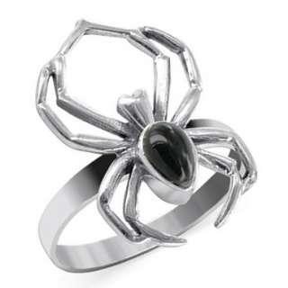 Halloween Spider Ring Sterling Silver Black Onyx 5   12