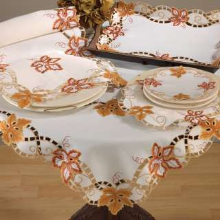 Cutwork Autumn Maple Leaf Ivory Tablecloth 36 54 Square New