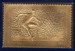 22ct Gold Stamp 1984 Los Angeles Olympic Games HURDLES
