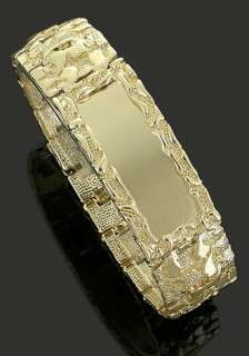 Mens 14k Gold Plated Personalized Nugget ID 20 mm Bracelet ~ Warranty