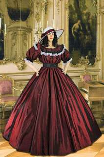 Civil War Wide Dress Ball Gown with Wide Skirt Handmade from Taffeta