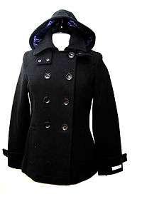 NWT Womens CALVIN KLEIN Black Wool Blends Hooded Peacoat