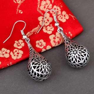teardrop Tibet silver daisy flower bead dangle earrings