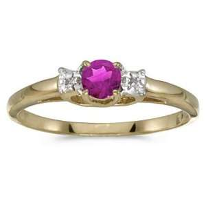 14k Yellow Gold Round Pink Topaz Birthstone And Diamond Ring Jewelry
