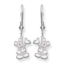 14k White Gold Disney Wave Mickey Mouse Dangle Earrings