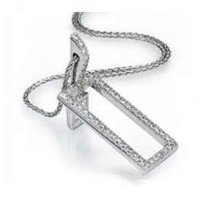 0.50Ct Round Diamond Rectangle Pendant 18k Gold Pave Jewelry