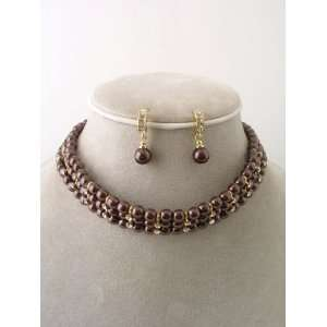 Fashion Jewelry ~ Brown Faux Pearl with Rhinestone Choker