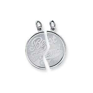 Sterling Silver 2 Piece Best Friend Disc Charm   JewelryWeb Jewelry
