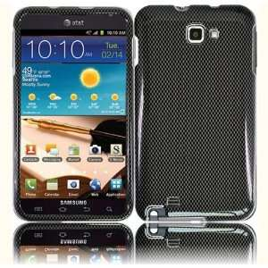 VMG Samsung Galaxy Note Design Hard Case Cover   Gray Carbon Fiber