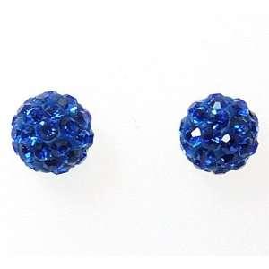 925 Silver Blue Austrian Crystal Disco Ball Earrings Size