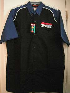 Mens Ladies Snap On Racing Short Sleeve Button Up Shirt
