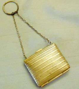 ANTIQUE GOLD PLATED LINED CHANGE/ COIN PURSE – CHATELAINE DANCE BAG