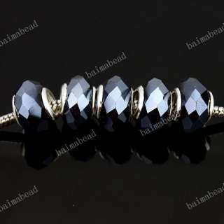 Wholesale Crystal Glass Faceted European Spacer Loose Beads Fit Charm