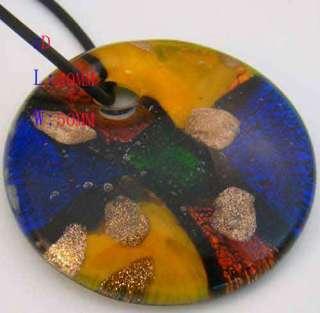 g3322 Blue Murano Lampwork Glass Circle Bead Pendant Necklace Fashion