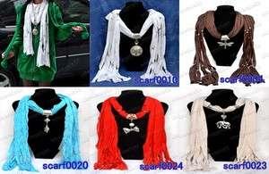 NEW 5 style poly cotton warm scarf Acrylic necklace shawl wrap womens