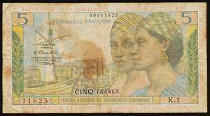 French Antilles 5 Francs ND(1964), P.7b IV