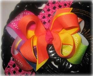 Rainbow Peace Sign Hair Bow Headband or Clip Girls Baby