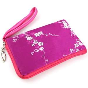 Silky Satin Padded Mobile Cell Phone Pouch   Oriental Brocade Cherry