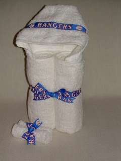 Personalized Baby Boy Hooded White TEXAS RANGERS Towel