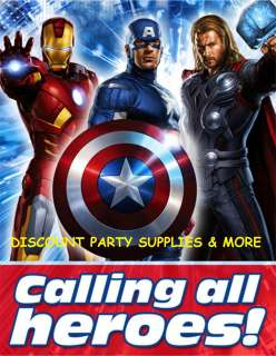 The Avengers Marvel Heroes Birthday Party Invitations