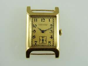 SOLID GOLD MANUAL WIND EXTRA LARGE CASE FANCY LUGS MENS WATCH