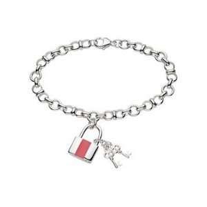 Enamel Sterling Silver Lock & Key Bracelet w/ Lobster Clasp Jewelry