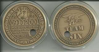 OSAMA BIN LADEN PUNCHED TICKED NAVY SEAL MILITARY COIN
