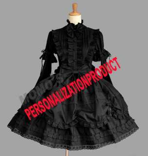 Lolita stunning lace Cosplay Knee Length black/white dress 2PC