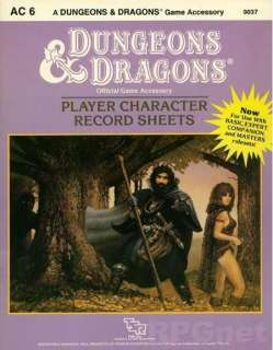 Character Record Sheets Accessory/1985 Advanced Dungeons & Dragons