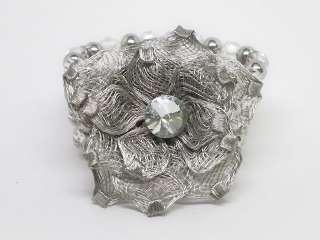 Clear Crystal Silver Tone Mesh Flower Bracelet s0365