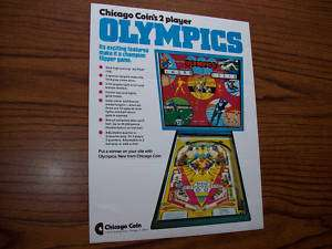 CHICAGO COIN OLYMPICS PINBALL MACHINE FLYER 1975