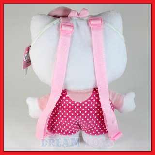 Sanrio Hello Kitty Polka Dot 14 Plush Backpack   Bag Bow