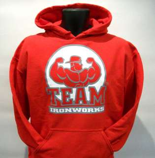 Red Bodybuilding Clothing Hoodie Workout Top Size XL