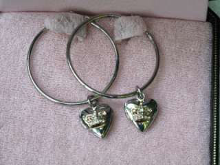 NIB JUICY COUTURE SILVER HEART LOCKET HOOP EARRINGS