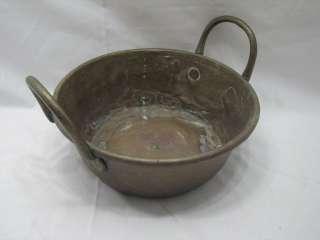 ANTIQUE COPPER WASH PAN BRASS HANDLE PRIMITIVE COOKWARE TUB