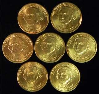 Set of 7 MINT ERROR George Washington Dollar Coins *4 91