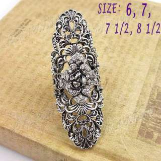Filigree Flower Crystal Floral 6cm Long Ring Full Finger Vintage Style