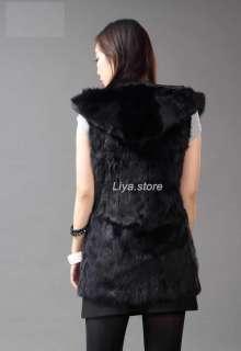 real genuine whole rabbit fur long waistcoat vest coat with hat cap