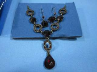 NIB AVON JEWELRY GIFT SETS GLAMOUROUS RED NECKLACE & ANKLE BRACELET
