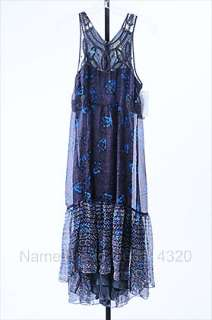 FREE PEOPLE 8 M black boho NATIVE ROSE dress full length SLVLS floral