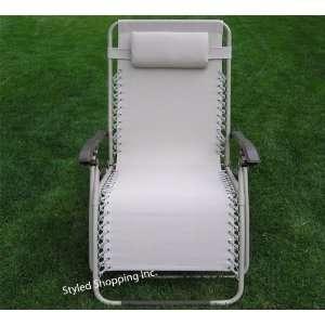 Wide Beige Folding Zero Gravity Chair Recliner Patio, Lawn & Garden