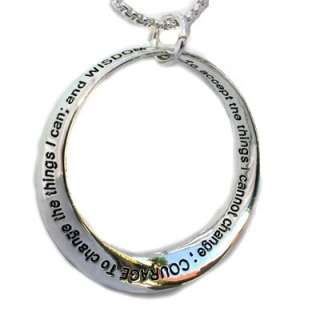 Inspire Gift Friend Family Silver Infinity Circle Serenity Prayer