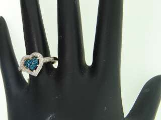GOLD BLUE HEART DIAMOND ENGAGEMENT RING WEDDING BAND BRIDAL SET