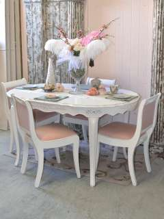 Shabby Cottage Chic White Dining Table Oval French Roses Seats 4