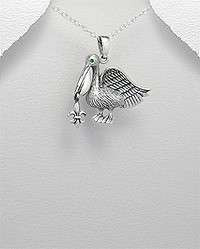 STERLING SILVER PELICAN BIRD NAUTICAL PENDANT NECKLACE