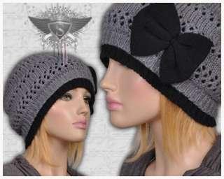 SH Light Gray Black Bowknot Openwork Womens Beanie Hat Skull Cap