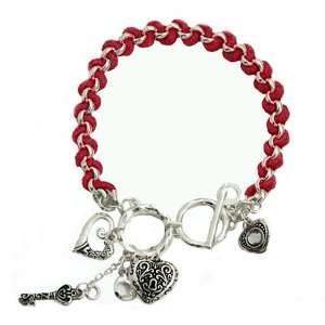 Silvertone and Pink Heart Charm Bracelet Fashion Jewelry Jewelry